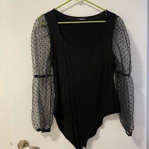 SHEIN Black Sheer Sleeve Bodysuit